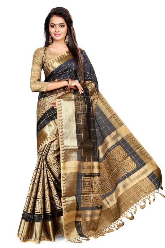 Asavari Embellished Banarasi Handloom Organza Saree(Black, Beige)