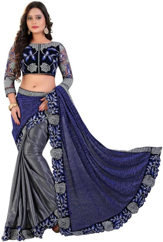 Rudra Fashion Embroidered Bollywood Lycra Saree(Grey)