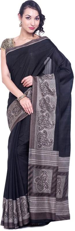 Black Beauty Solid Fashion Shimmer Fabric Saree(Black)