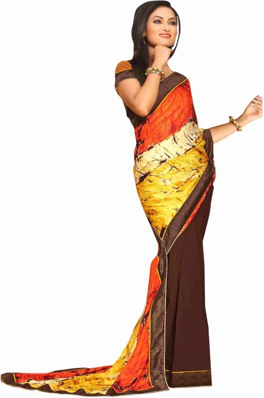 Khoobee Self Design Fashion Cotton Blend Saree(Multicolor, Brown)