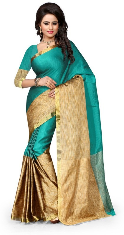 Style U Self Design Chanderi Poly Silk Saree(Green, Beige)