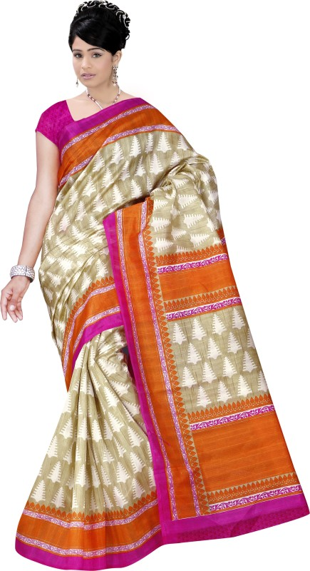 Winza Designer Printed, Self Design, Paisley, Floral Print, Solid Fashion Cotton Silk Saree(Multicolor)
