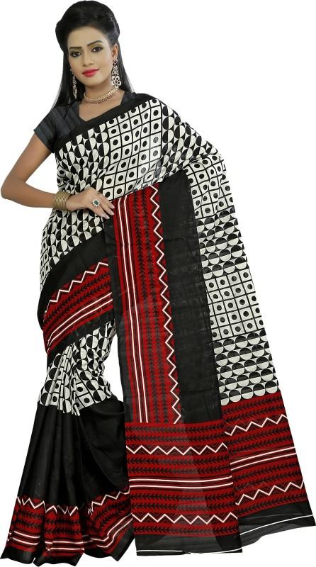 Khushali Self Design, Printed Fashion Art Silk Saree(Black, Multicolor)