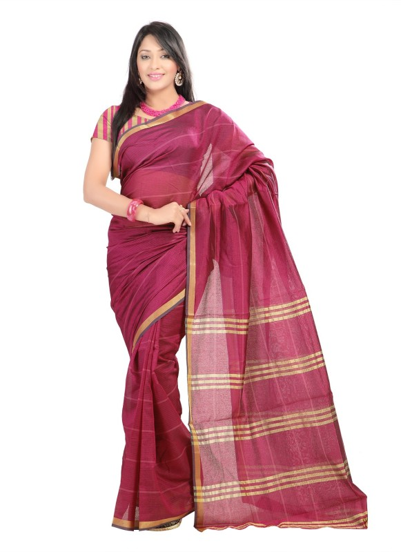 Suali Printed Fashion Tissue Saree(Pink)