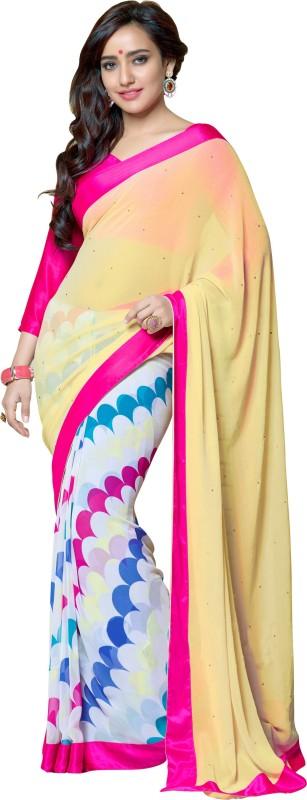 Khoobee Self Design, Printed, Embellished Fashion Georgette Saree(White, Multicolor)