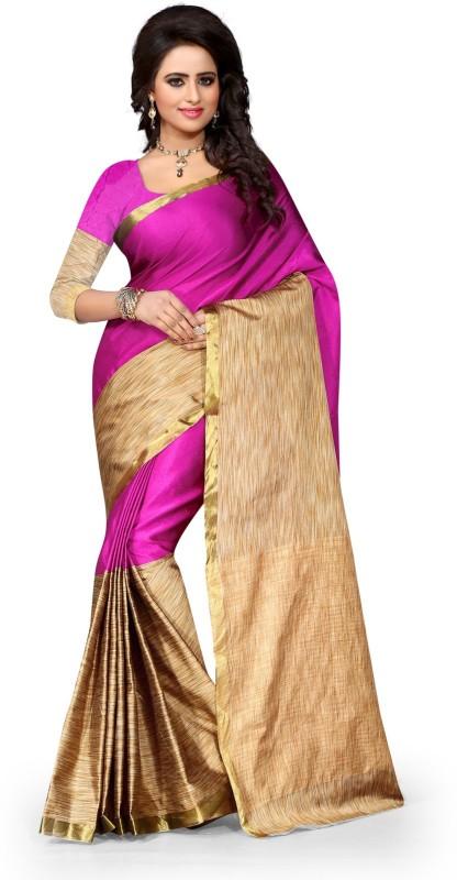 Style U Embellished Kanjivaram Handloom Art Silk, Polyester Saree(Pink, Beige)