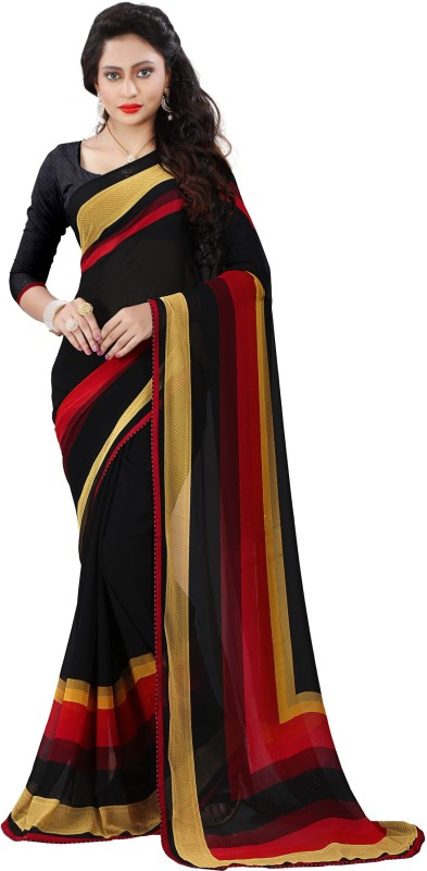Kalaa Varsha Printed, Checkered Daily Wear Synthetic Georgette Saree(Black, Red)
