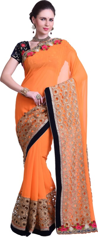Chirag Sarees Embellished Fashion Synthetic Georgette Saree(Orange)