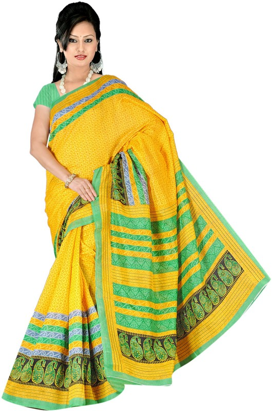 Khushali Self Design, Printed Fashion Art Silk Saree(Yellow, Green)