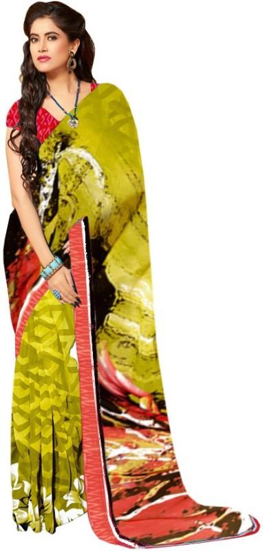 Khushali Self Design, Printed Fashion Georgette Saree(Light Green, Multicolor)