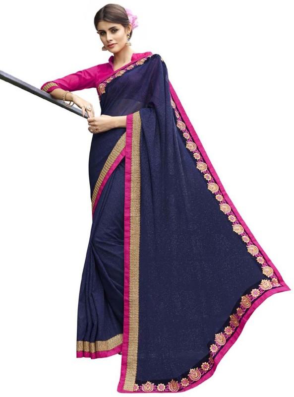 Desi Butik Self Design Fashion Georgette Saree(Blue)