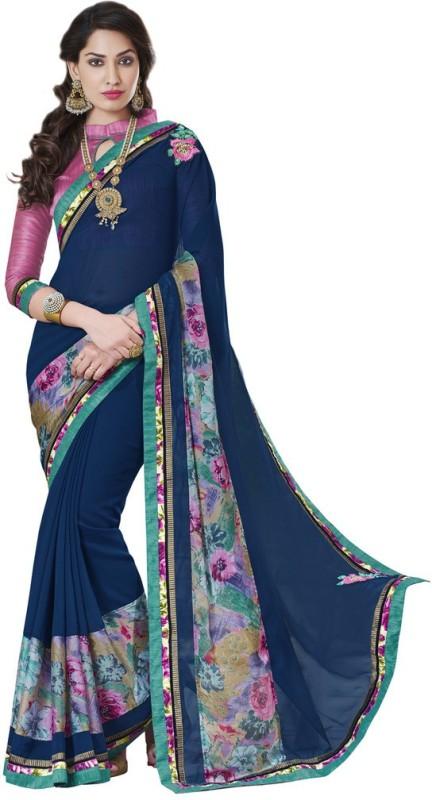 Desi Butik Embroidered Fashion Poly Georgette, Chiffon Saree(Purple)