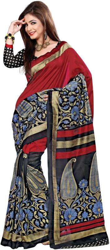 Jiya Self Design, Printed Fashion Poly Silk Saree(Maroon)