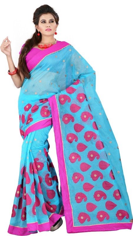 Weavedeal Embellished, Embroidered Bollywood Cotton, Net Saree(Blue)