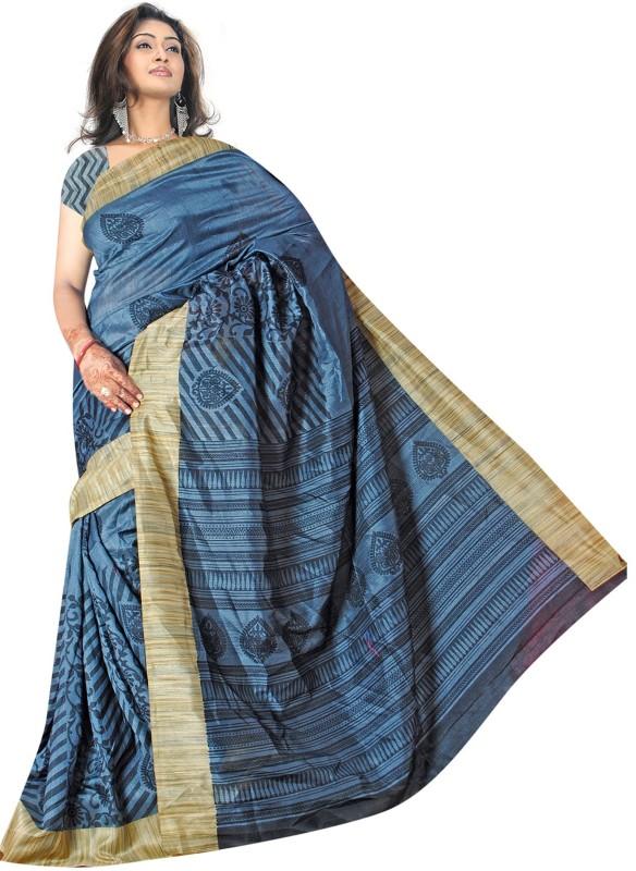 Khushali Self Design, Printed Fashion Art Silk Saree(Blue, Beige)