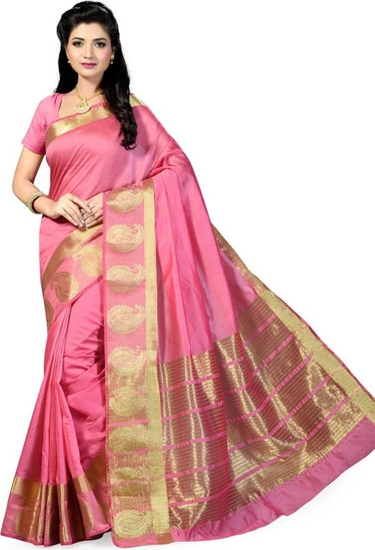 Rani Saahiba Solid Chanderi Art Silk Saree(Pink)