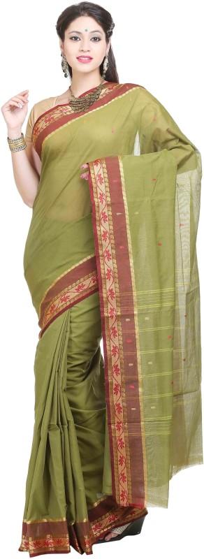 Goodway Striped Madurai Cotton Saree(Green)