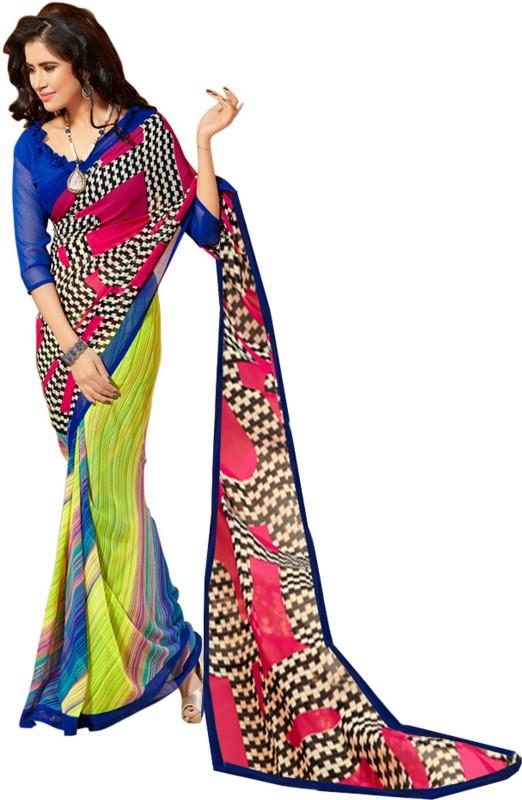 Jiya Self Design, Printed Fashion Poly Georgette Saree(Blue, Pink, Yellow)