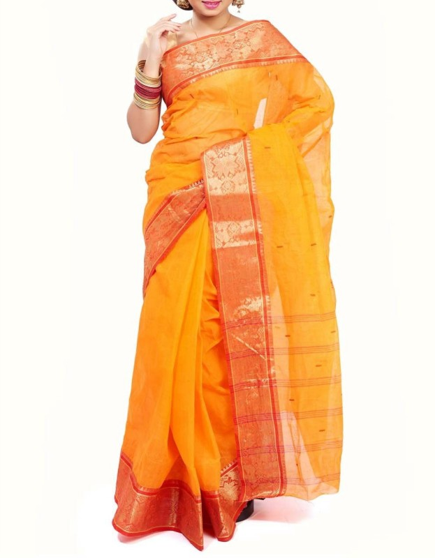 Rudrakshhh Embroidered Jamdani Handloom Cotton Saree(Red, Yellow)