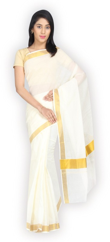 Rightshape Embellished Fashion Handloom Cotton Saree(White)
