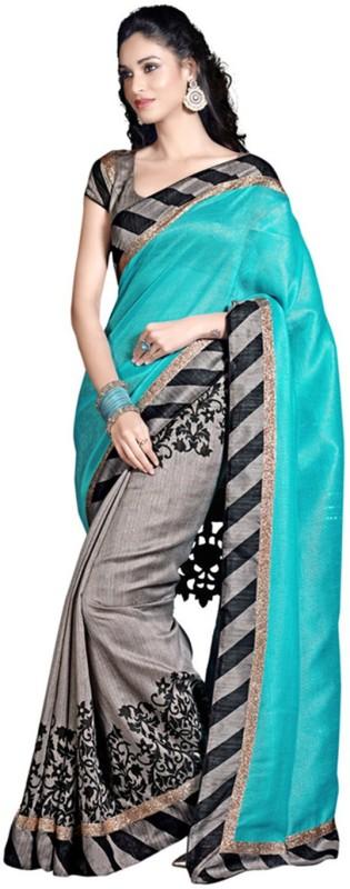Wowcreation Self Design Bollywood Handloom Art Silk Saree(Blue, Grey)