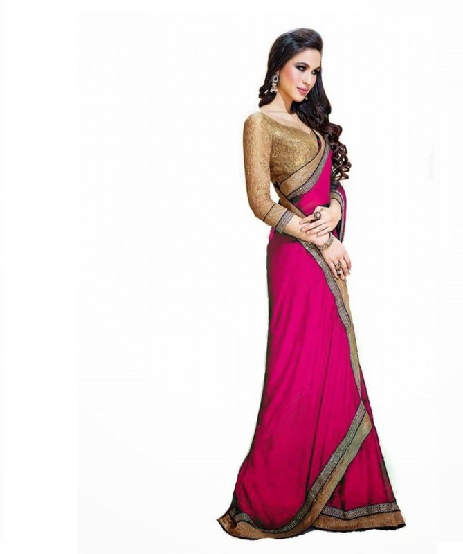 Bollywood Designer Solid Fashion Georgette Saree(Pink)