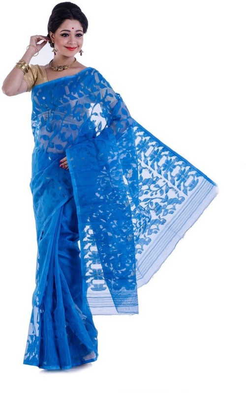FaabIndia Embroidered Jamdani Handloom Cotton Saree(Blue)