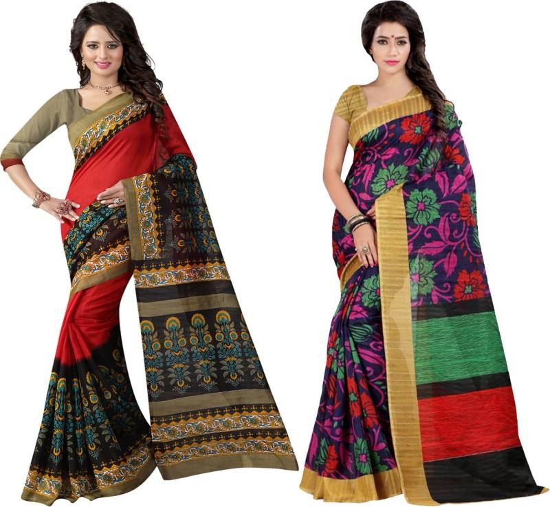 Glory Sarees Printed Bhagalpuri Art Silk, Cotton Saree(Pack of 2, Multicolor)