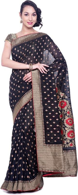 Black Beauty Embellished Bhagalpuri Tissue Saree(Black, Multicolor)