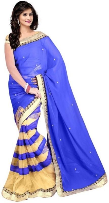 Krishna Emporia Solid Fashion Georgette Saree(Light Blue)