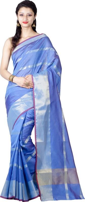 Chandrakala Striped Banarasi Silk Saree(Blue)