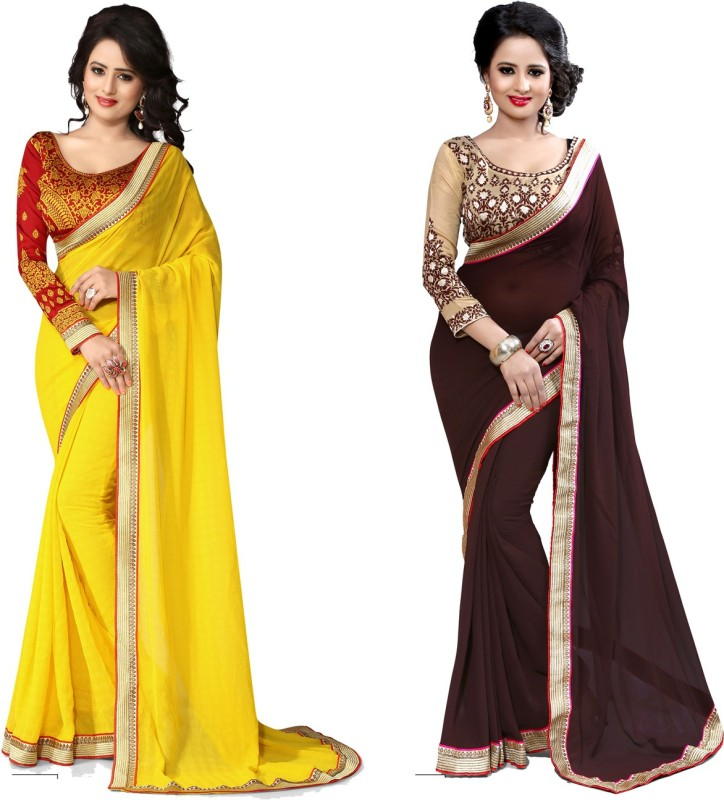 Indianbeauty Self Design, Solid, Printed Bollywood Chiffon Saree(Pack of 2, Brown, Yellow)
