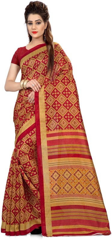 Yetnik Printed Bollywood Jute Saree(Multicolor)