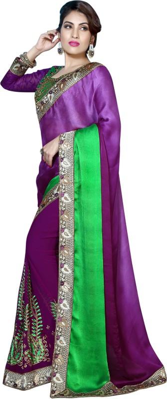 Khushali Self Design, Embroidered, Embellished Fashion Georgette, Crepe, Jacquard Saree(Green, Purple)