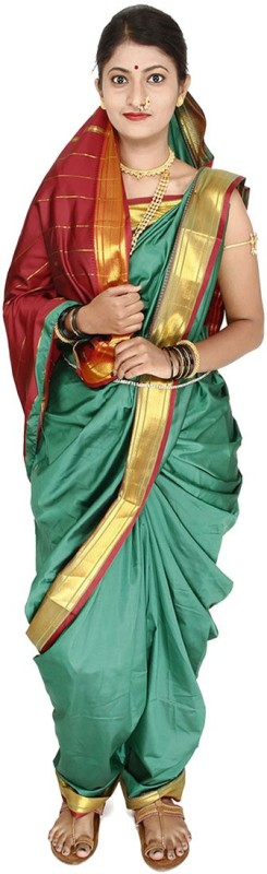 Womens Cottage Solid Assam Silk Cotton Saree(Green)