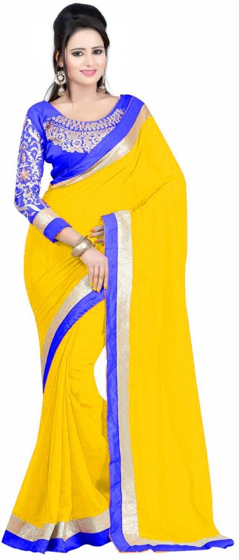 Winza Designer Embroidered, Embellished, Checkered Daily Wear Georgette, Pure Georgette Saree(Multicolor, Blue, Yellow)