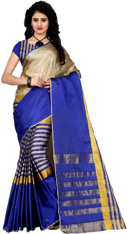 Trendz Style Striped Fashion Tussar Silk, Cotton Linen Blend Saree(Blue)