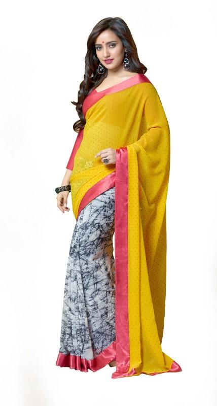 Jiya Self Design, Printed Fashion Poly Georgette Saree(White, Grey, Yellow)