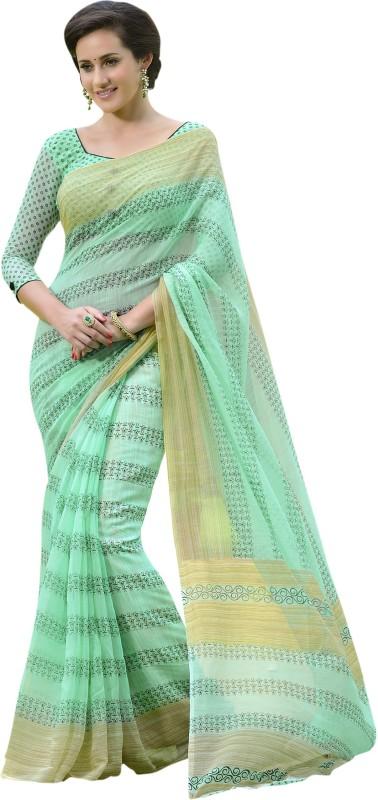 Parisha Printed Fashion Polycotton Saree(Green)