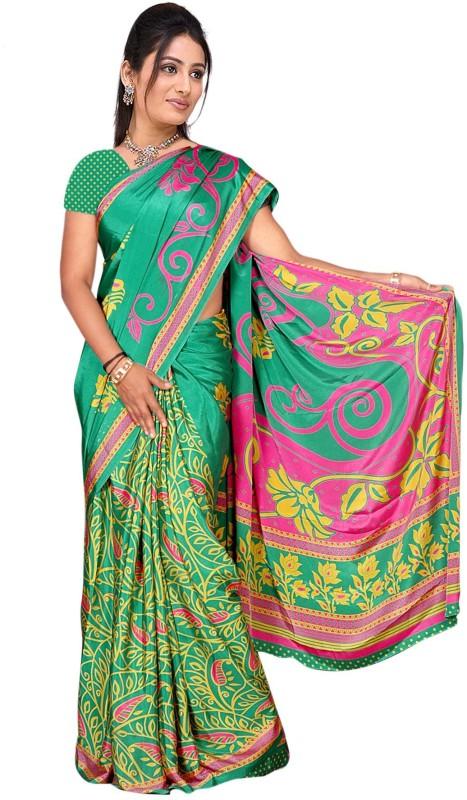 Trendz Printed Fashion Poly Crepe Saree(Green)