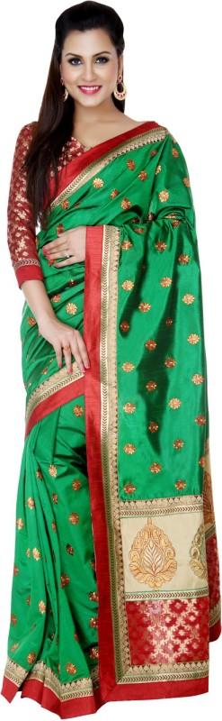 Studio Shringaar Embroidered Fashion Polyester Saree(Green)