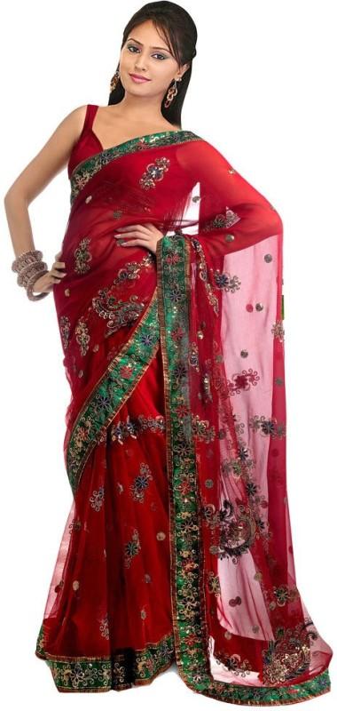 Aksh Fashion Embroidered Phulkari Georgette Saree(Red)