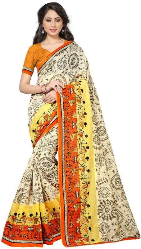 BAPS Printed, Striped Bollywood Cotton, Silk Saree(Beige)