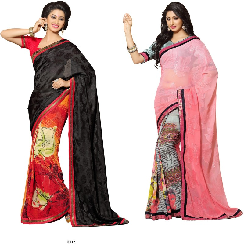 Indianbeauty Self Design, Printed Bollywood Georgette Saree(Pack of 2, Black, Red, Pink,...