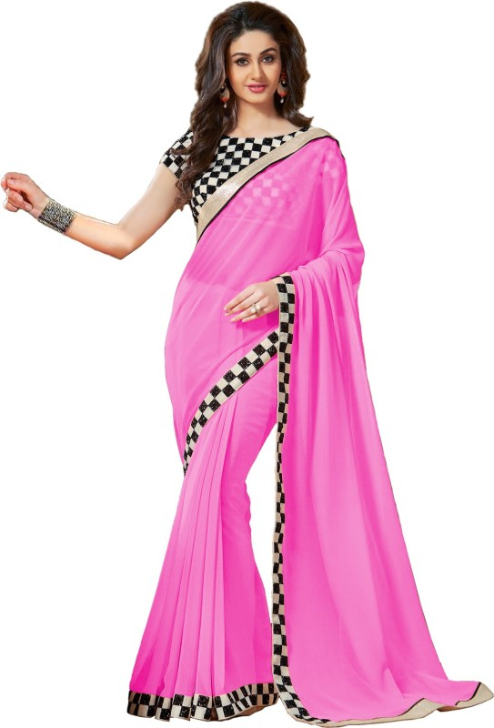 Saumya Designer Self Design Bollywood Georgette Saree(Pink)