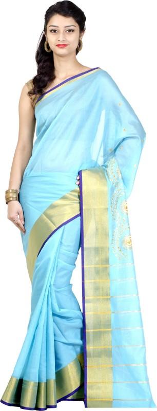 Chandrakala Solid Banarasi Art Silk Saree(Blue)