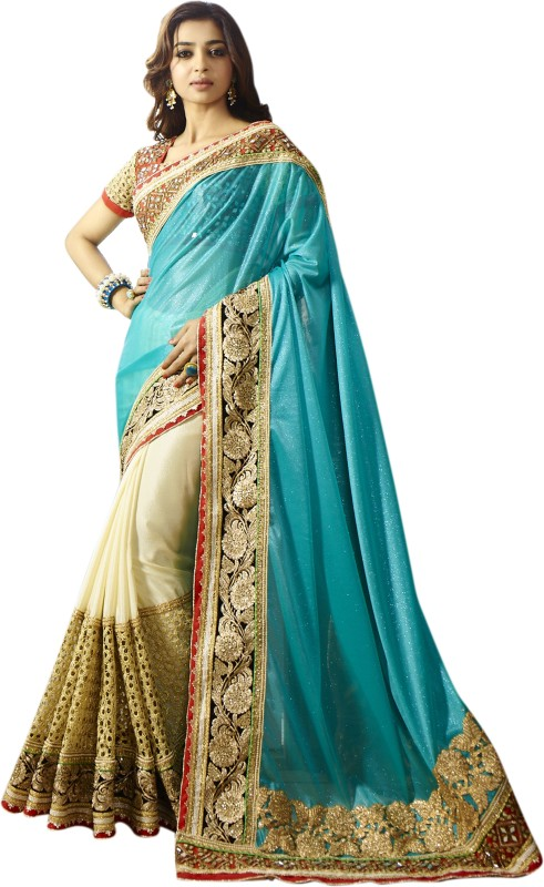 Chirag Sarees Embroidered Bollywood Georgette Saree(Green)