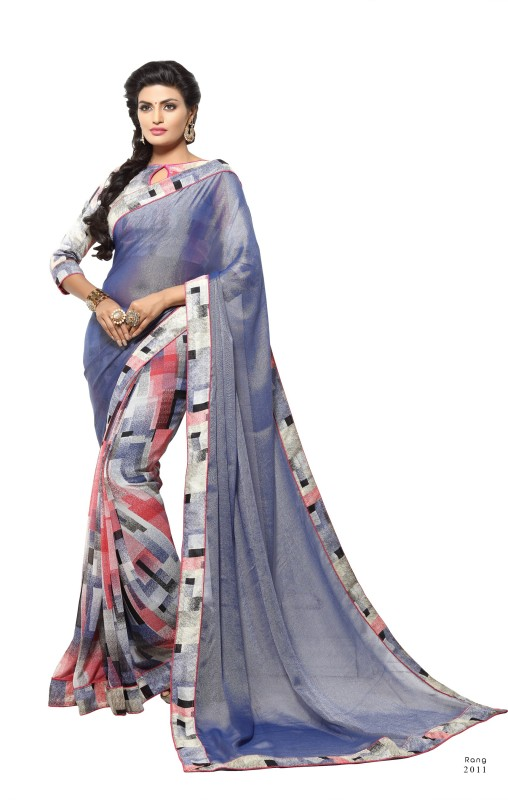 Khushali Self Design, Printed Fashion Georgette Saree(Grey, Multicolor)