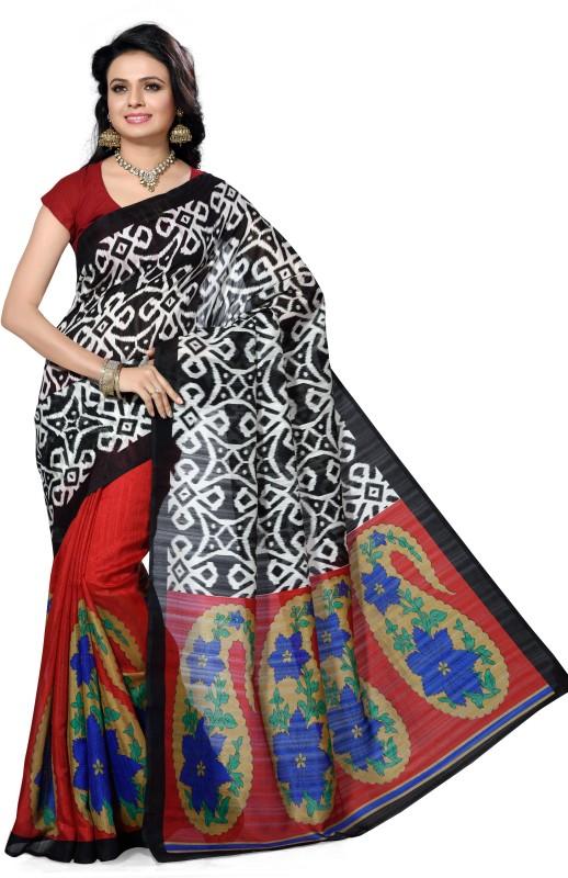 Ishin Floral Print Fashion Poly Silk Saree(Multicolor)