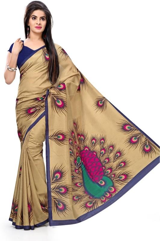 Design Willa Printed Mysore Synthetic Crepe Saree(Multicolor)